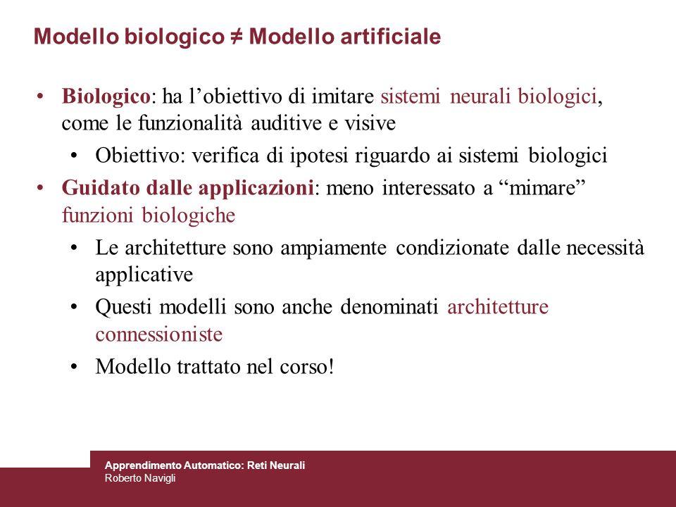 Apprendimento Automatico: Reti Neurali Roberto Navigli Modello biologico Modello artificiale Biologico: ha lobiettivo di imitare sistemi neurali biolo