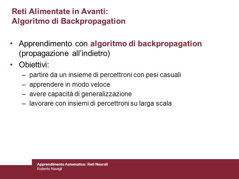 Apprendimento Automatico: Reti Neurali Roberto Navigli Reti Alimentate in Avanti: Algoritmo di Backpropagation Apprendimento con algoritmo di backprop
