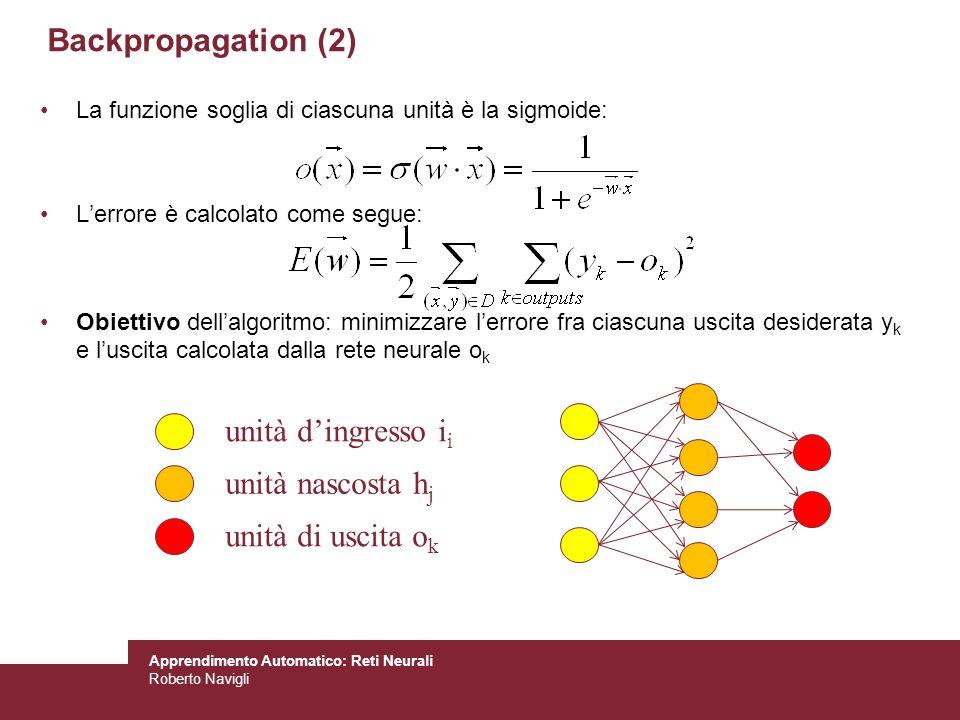 Apprendimento Automatico: Reti Neurali Roberto Navigli La funzione soglia di ciascuna unità è la sigmoide: Lerrore è calcolato come segue: Obiettivo d