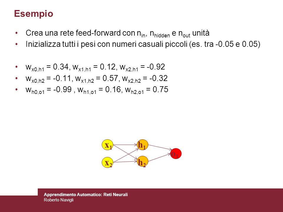 Apprendimento Automatico: Reti Neurali Roberto Navigli Crea una rete feed-forward con n in, n hidden e n out unità Inizializza tutti i pesi con numeri