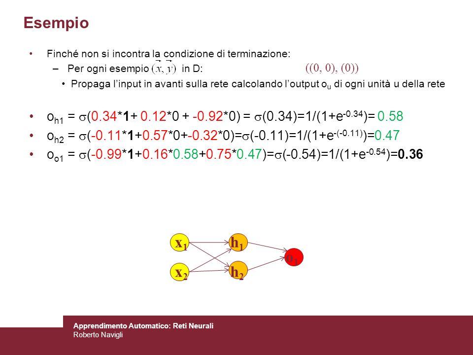 Apprendimento Automatico: Reti Neurali Roberto Navigli Finché non si incontra la condizione di terminazione: –Per ogni esempio in D: Propaga linput in