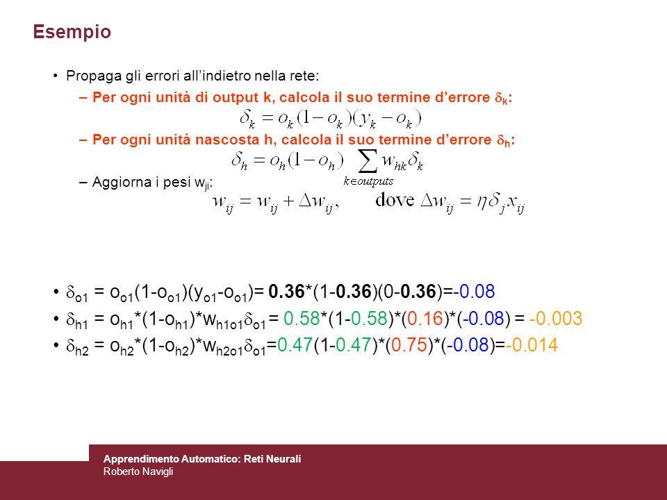 Apprendimento Automatico: Reti Neurali Roberto Navigli Propaga gli errori allindietro nella rete: –Per ogni unità di output k, calcola il suo termine