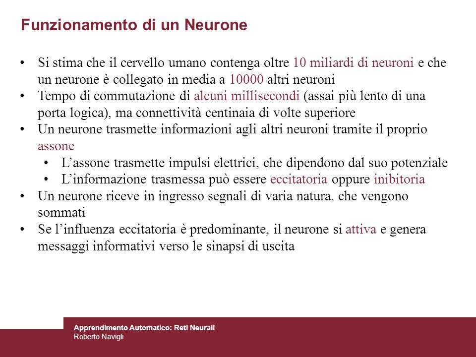 Apprendimento Automatico: Reti Neurali Roberto Navigli Funzionamento di un Neurone Si stima che il cervello umano contenga oltre 10 miliardi di neuron