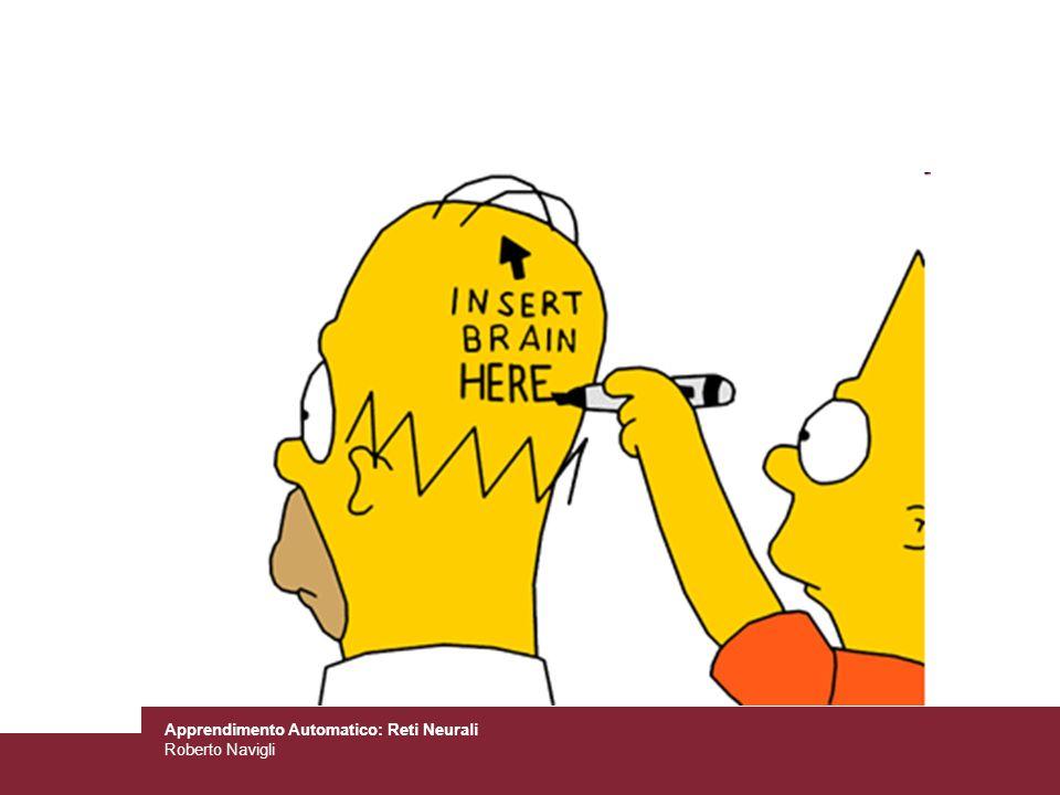 Apprendimento Automatico: Reti Neurali Roberto Navigli Modifica della regola di aggiornamento Quando si esegue ln-esima iterazione la regola di aggiornamento diventa: Il secondo termine prende il nome di momento Vantaggi: –È possibile superare minimi locali –Mantiene in movimento dove il gradiente non cambia (zona piatta) –Incrementa la velocità di convergenza Svantaggi: –E un parametro in più da regolare!