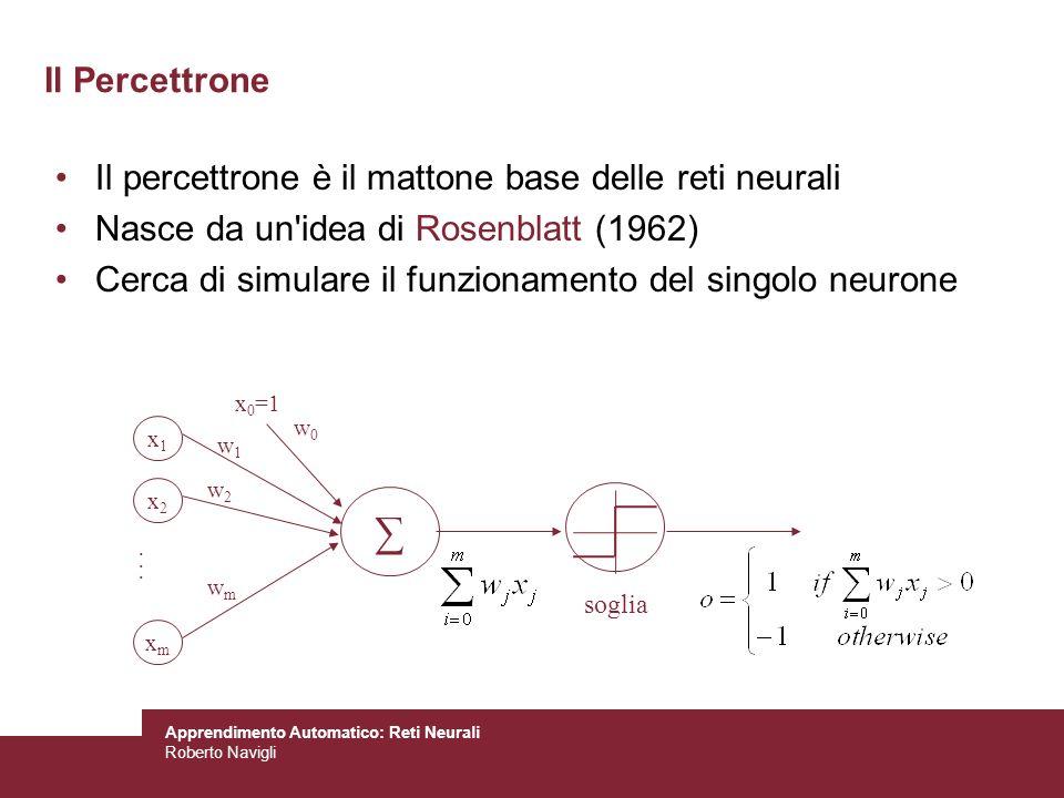 Apprendimento Automatico: Reti Neurali Roberto Navigli Propaga gli errori allindietro nella rete: –Per ogni unità di output k, calcola il suo termine derrore k : –Per ogni unità nascosta h, calcola il suo termine derrore h : –Aggiorna i pesi w ji : –w x0h1 = 0.34+ h1 x x0h1 =0.34+0.5*(-0.003)*1=0.34-0.0015, –w x1h1 = 0.12+0, w x2h1 = -0.92+0 –w x0h2 = -0.11+ h2 x x0h2 =0.34+0.5*(-0.014)*1=0.34-0.007, –w x1h2 = 0.57+0, w x2h2 = -0.32+0 –w h0o1 = -0.99+ o1 x h0o1 =-0.99+0.5*(-0.08)*1=-0.99-0.04 –w h1o1 = 0.16+ o1 x h1o1 =0.16+0.5*(-0.08)*0.58=0.16-0.02 –w h2o1 = 0.75+ o1 x h2o1 =0.75+0.5*(-0.08)*0.47=0.75-0.02 Esempio