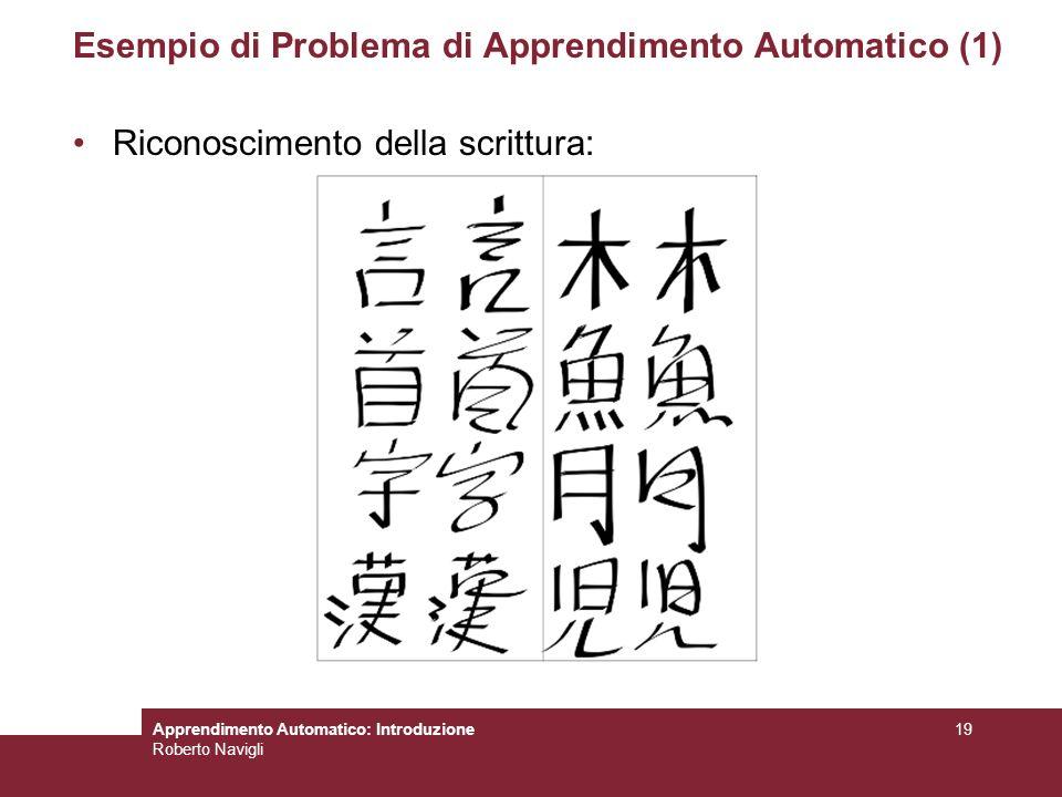 Apprendimento Automatico: Introduzione Roberto Navigli 19 Esempio di Problema di Apprendimento Automatico (1) Riconoscimento della scrittura: