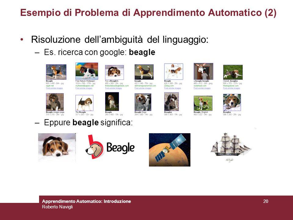 Apprendimento Automatico: Introduzione Roberto Navigli 20 Esempio di Problema di Apprendimento Automatico (2) Risoluzione dellambiguità del linguaggio