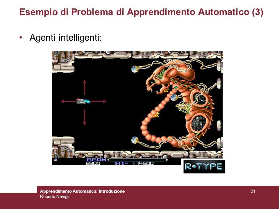 Apprendimento Automatico: Introduzione Roberto Navigli 21 Esempio di Problema di Apprendimento Automatico (3) Agenti intelligenti: