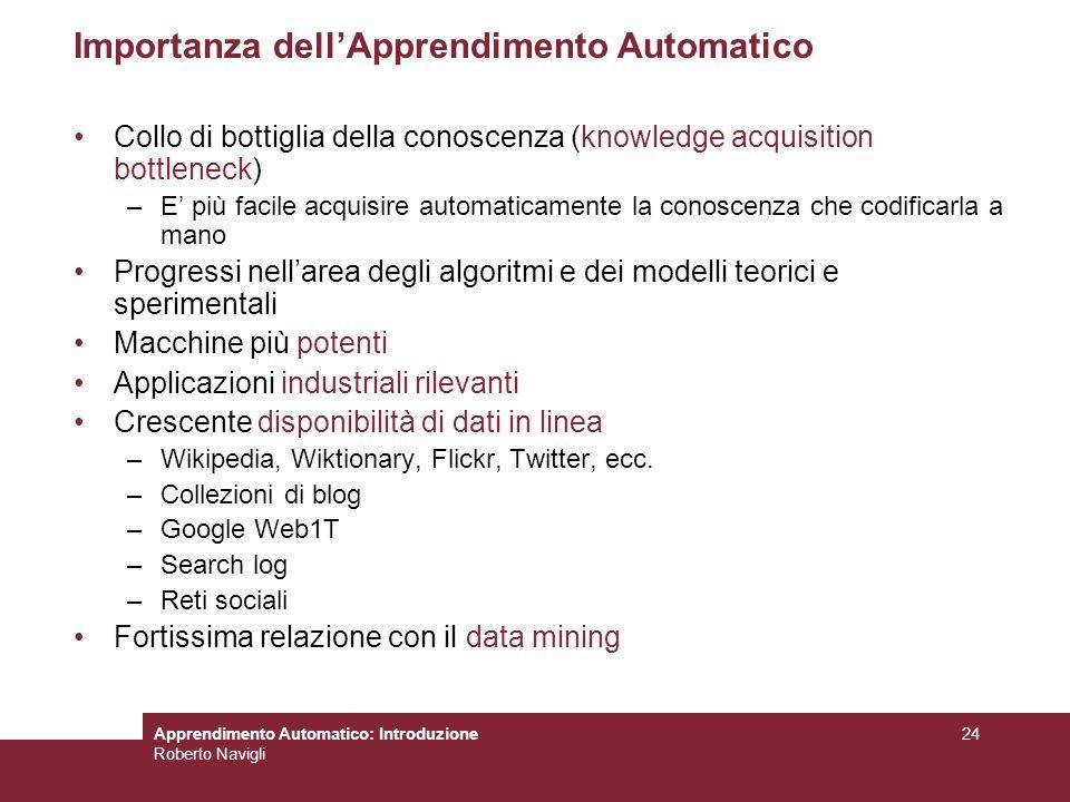 Apprendimento Automatico: Introduzione Roberto Navigli 24 Importanza dellApprendimento Automatico Collo di bottiglia della conoscenza (knowledge acqui
