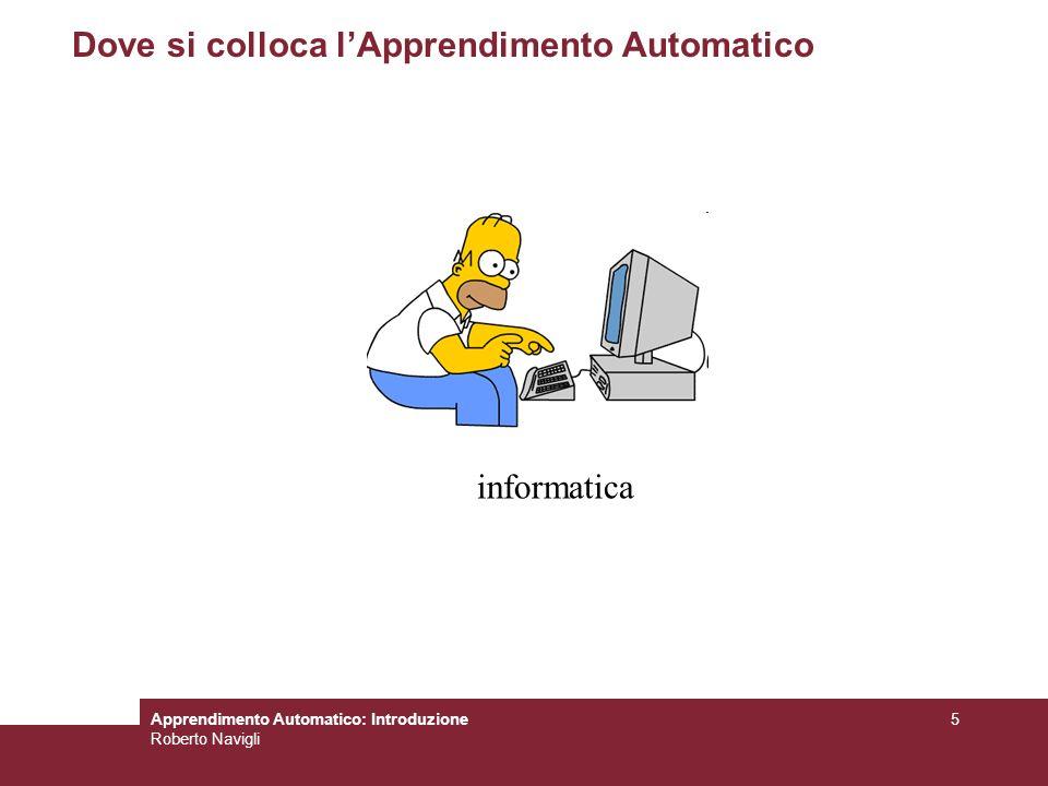 Apprendimento Automatico: Introduzione Roberto Navigli 6 Dove si colloca lApprendimento Automatico Intelligenza Artificiale