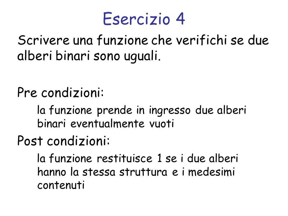 Esercizio 4 Scrivere una funzione che verifichi se due alberi binari sono uguali. Pre condizioni: la funzione prende in ingresso due alberi binari eve