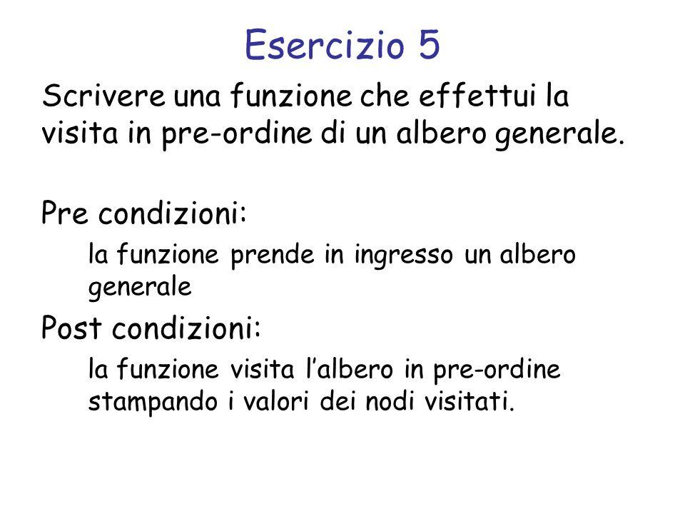 Esercizio 5 Scrivere una funzione che effettui la visita in pre-ordine di un albero generale. Pre condizioni: la funzione prende in ingresso un albero