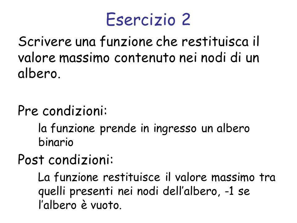 Esercizio 2 Scrivere una funzione che restituisca il valore massimo contenuto nei nodi di un albero. Pre condizioni: la funzione prende in ingresso un