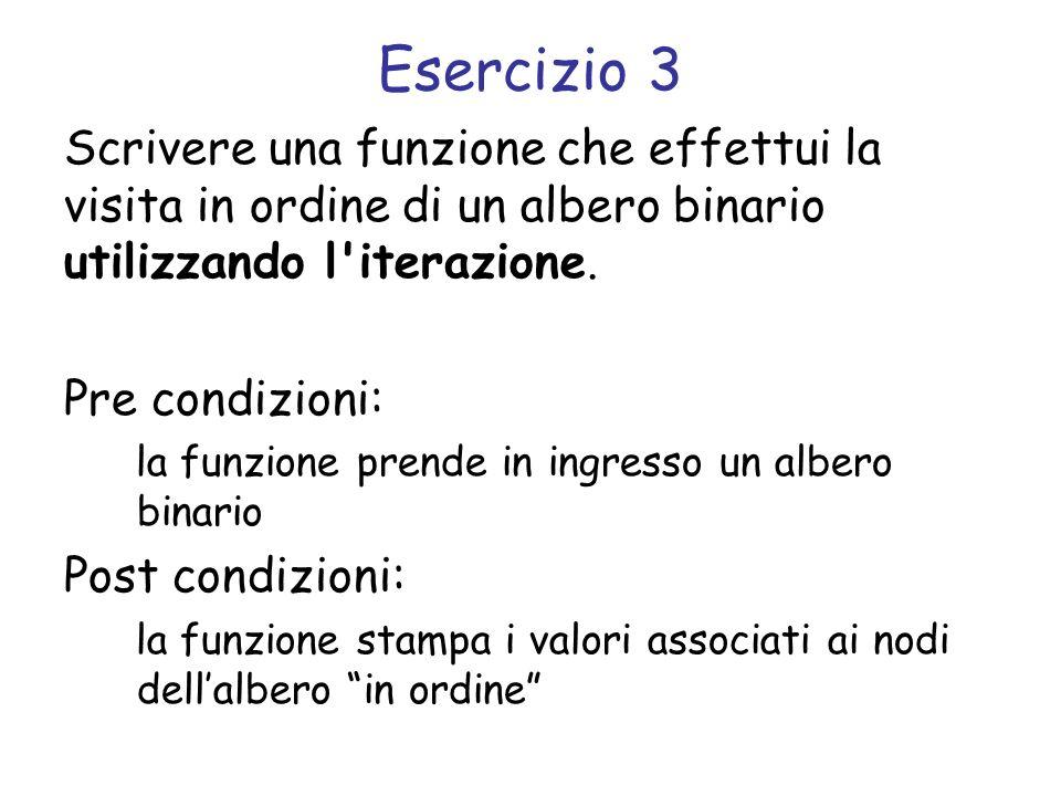 Esercizio 3 Scrivere una funzione che effettui la visita in ordine di un albero binario utilizzando l'iterazione. Pre condizioni: la funzione prende i