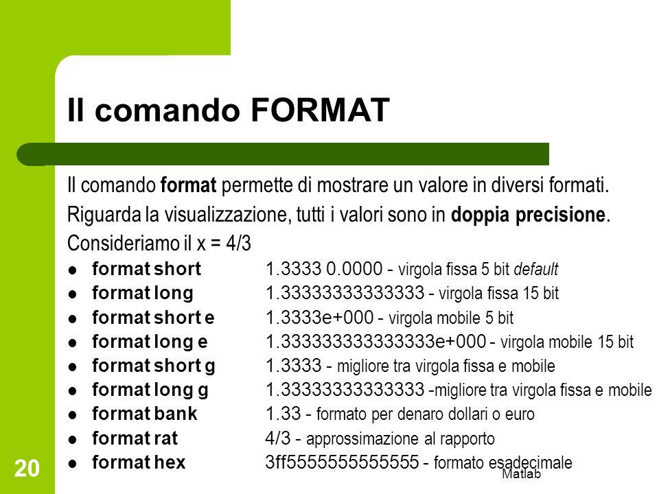 Matlab 20 Il comando FORMAT Il comando format permette di mostrare un valore in diversi formati. Riguarda la visualizzazione, tutti i valori sono in d