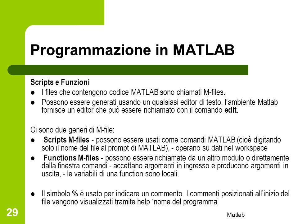 Matlab 29 Programmazione in MATLAB Scripts e Funzioni I files che contengono codice MATLAB sono chiamati M-files. Possono essere generati usando un qu
