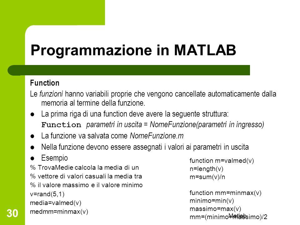 Matlab 30 Programmazione in MATLAB Function Le funzioni hanno variabili proprie che vengono cancellate automaticamente dalla memoria al termine della
