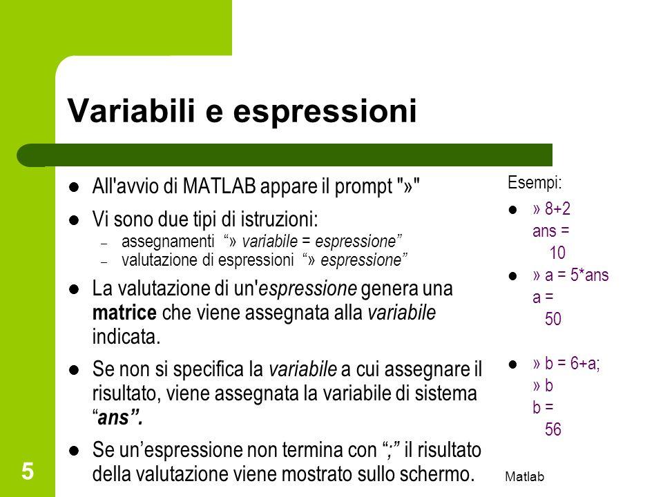 Matlab 5 Variabili e espressioni All'avvio di MATLAB appare il prompt
