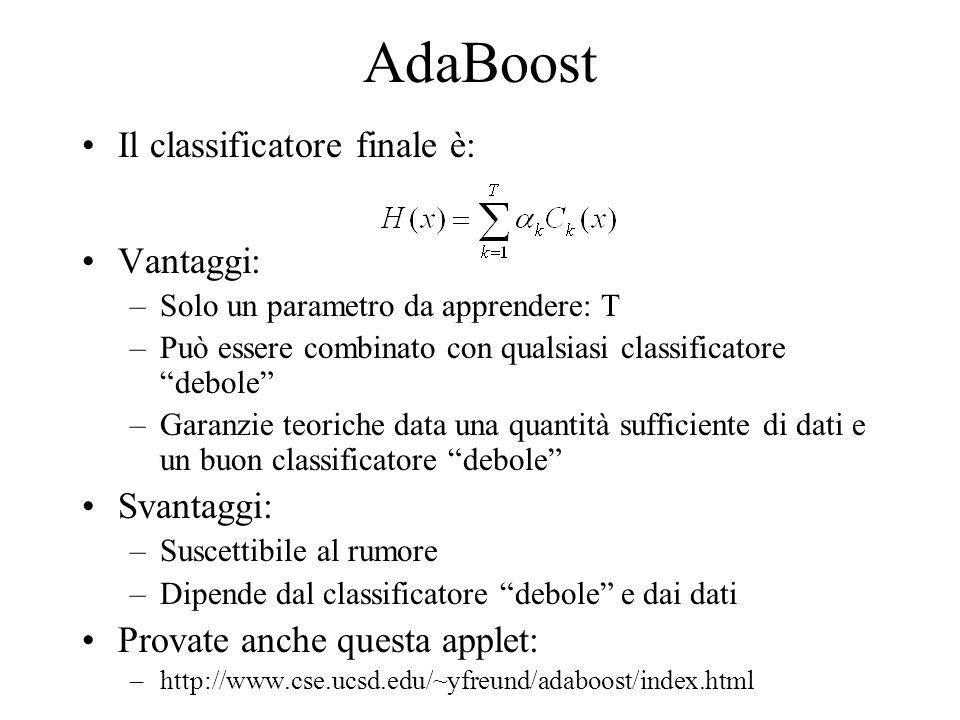 AdaBoost Il classificatore finale è: Vantaggi: –Solo un parametro da apprendere: T –Può essere combinato con qualsiasi classificatore debole –Garanzie