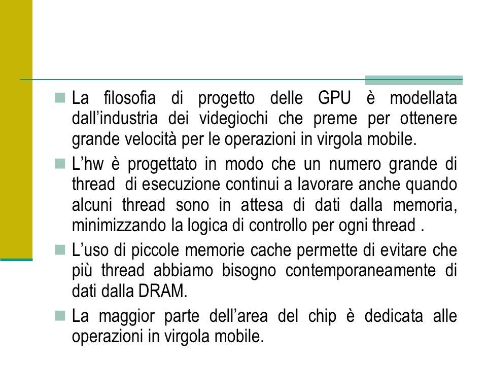 La filosofia di progetto delle GPU è modellata dallindustria dei videgiochi che preme per ottenere grande velocità per le operazioni in virgola mobile.