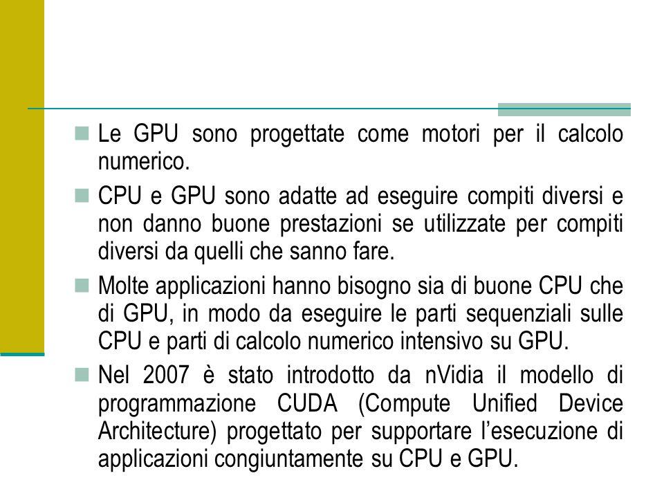 Le GPU sono progettate come motori per il calcolo numerico. CPU e GPU sono adatte ad eseguire compiti diversi e non danno buone prestazioni se utilizz