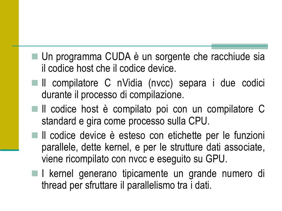 Un programma CUDA è un sorgente che racchiude sia il codice host che il codice device. Il compilatore C nVidia (nvcc) separa i due codici durante il p