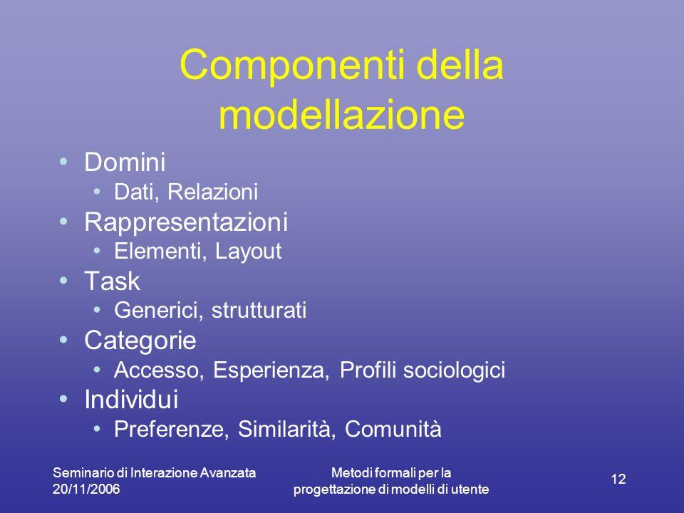 Seminario di Interazione Avanzata 20/11/2006 Metodi formali per la progettazione di modelli di utente 12 Componenti della modellazione Domini Dati, Relazioni Rappresentazioni Elementi, Layout Task Generici, strutturati Categorie Accesso, Esperienza, Profili sociologici Individui Preferenze, Similarità, Comunità
