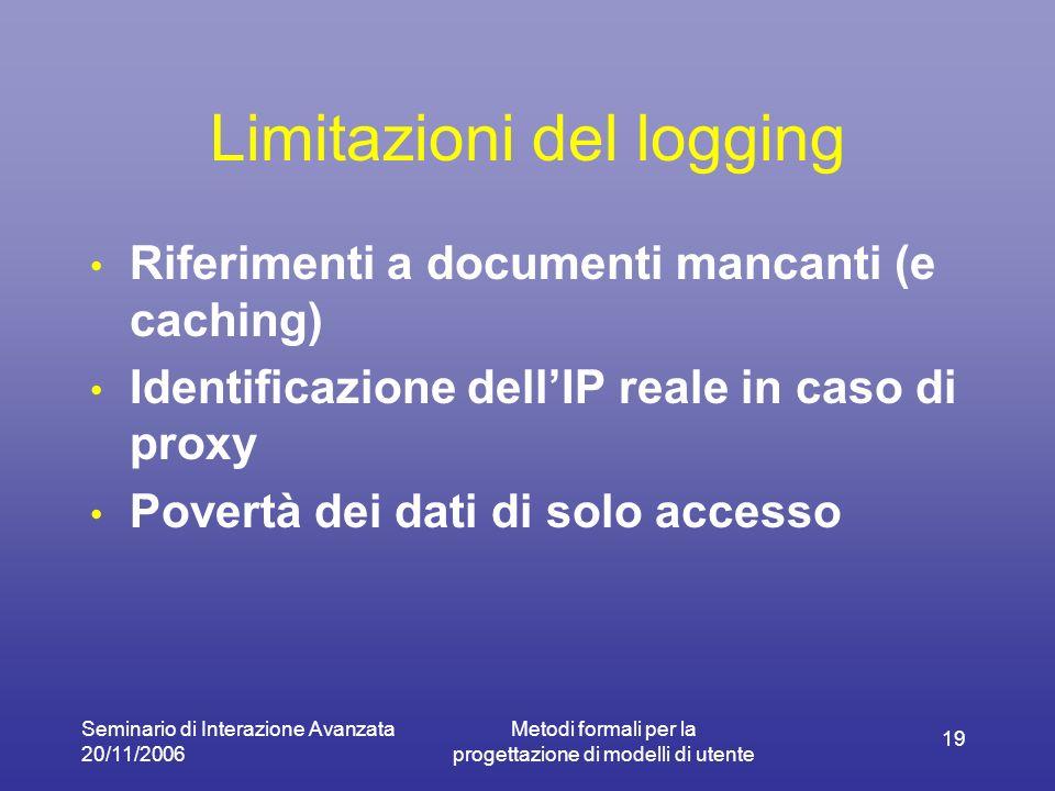 Seminario di Interazione Avanzata 20/11/2006 Metodi formali per la progettazione di modelli di utente 19 Limitazioni del logging Riferimenti a documenti mancanti (e caching) Identificazione dellIP reale in caso di proxy Povertà dei dati di solo accesso