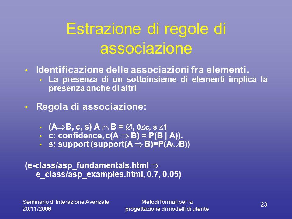 Seminario di Interazione Avanzata 20/11/2006 Metodi formali per la progettazione di modelli di utente 23 Estrazione di regole di associazione Identificazione delle associazioni fra elementi.
