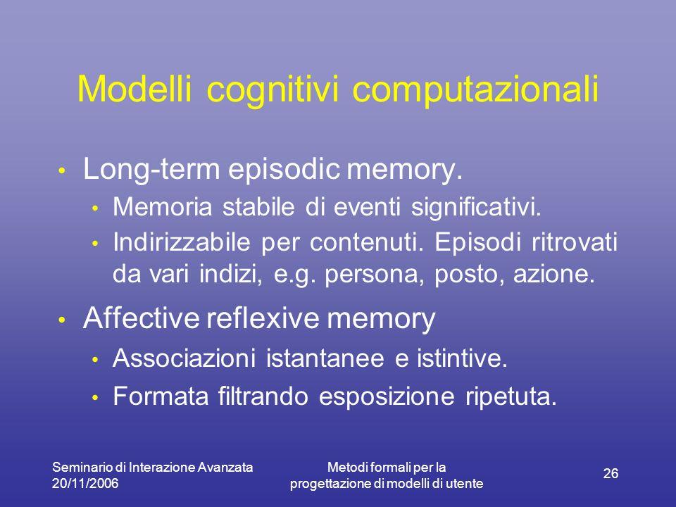 Seminario di Interazione Avanzata 20/11/2006 Metodi formali per la progettazione di modelli di utente 26 Modelli cognitivi computazionali Long-term ep