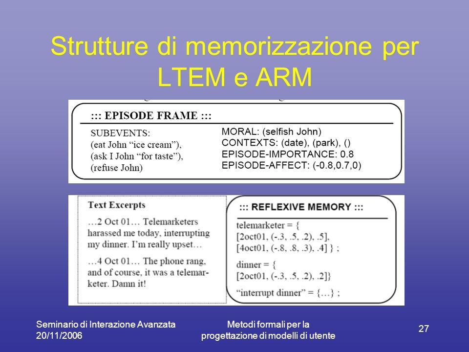 Seminario di Interazione Avanzata 20/11/2006 Metodi formali per la progettazione di modelli di utente 27 Strutture di memorizzazione per LTEM e ARM