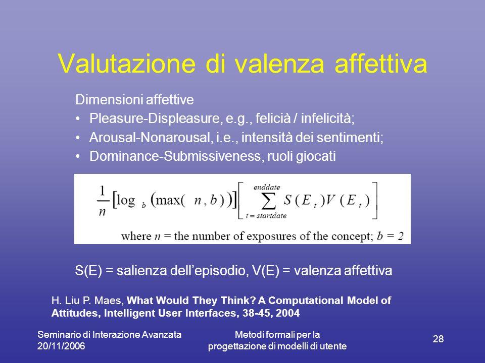 Seminario di Interazione Avanzata 20/11/2006 Metodi formali per la progettazione di modelli di utente 28 Valutazione di valenza affettiva Dimensioni a