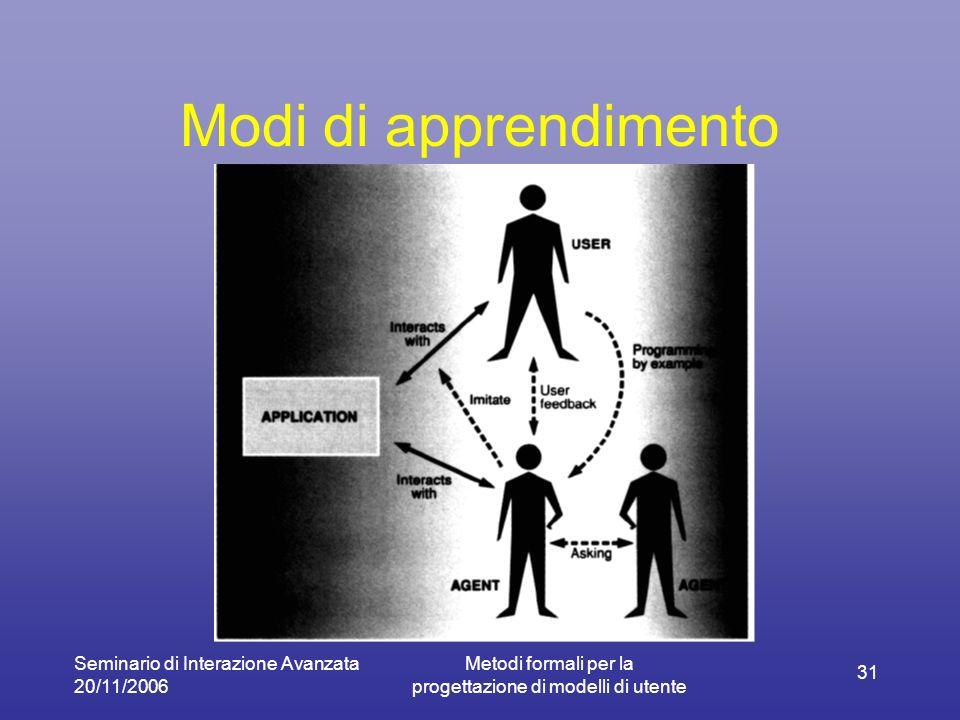 Seminario di Interazione Avanzata 20/11/2006 Metodi formali per la progettazione di modelli di utente 31 Modi di apprendimento