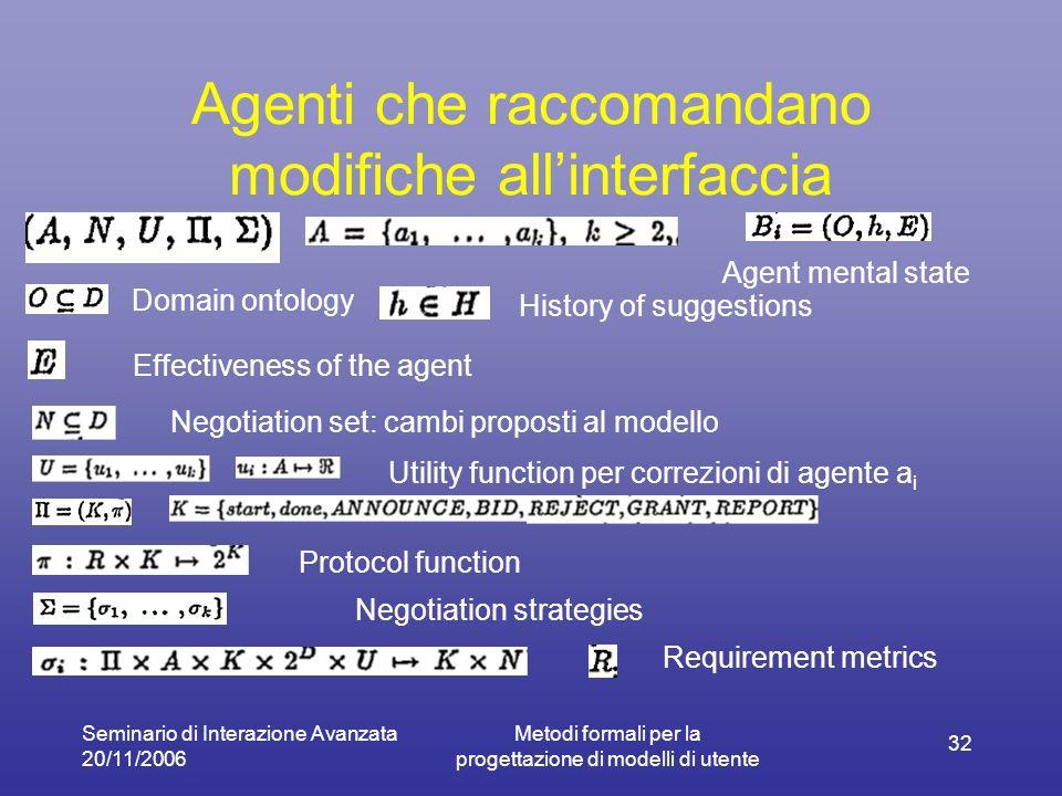 Seminario di Interazione Avanzata 20/11/2006 Metodi formali per la progettazione di modelli di utente 32 Agenti che raccomandano modifiche allinterfac