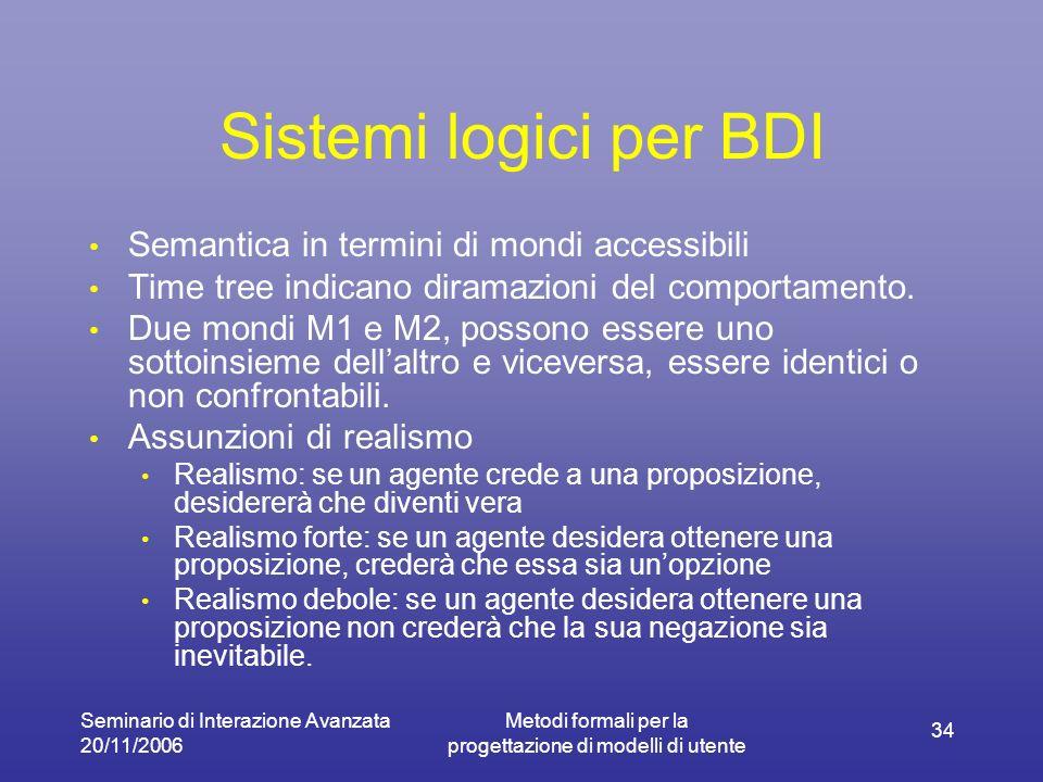 Seminario di Interazione Avanzata 20/11/2006 Metodi formali per la progettazione di modelli di utente 34 Sistemi logici per BDI Semantica in termini di mondi accessibili Time tree indicano diramazioni del comportamento.