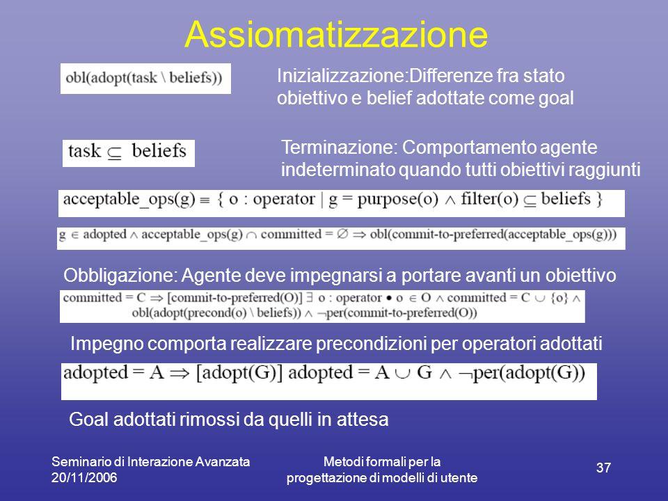 Seminario di Interazione Avanzata 20/11/2006 Metodi formali per la progettazione di modelli di utente 37 Assiomatizzazione Inizializzazione:Differenze