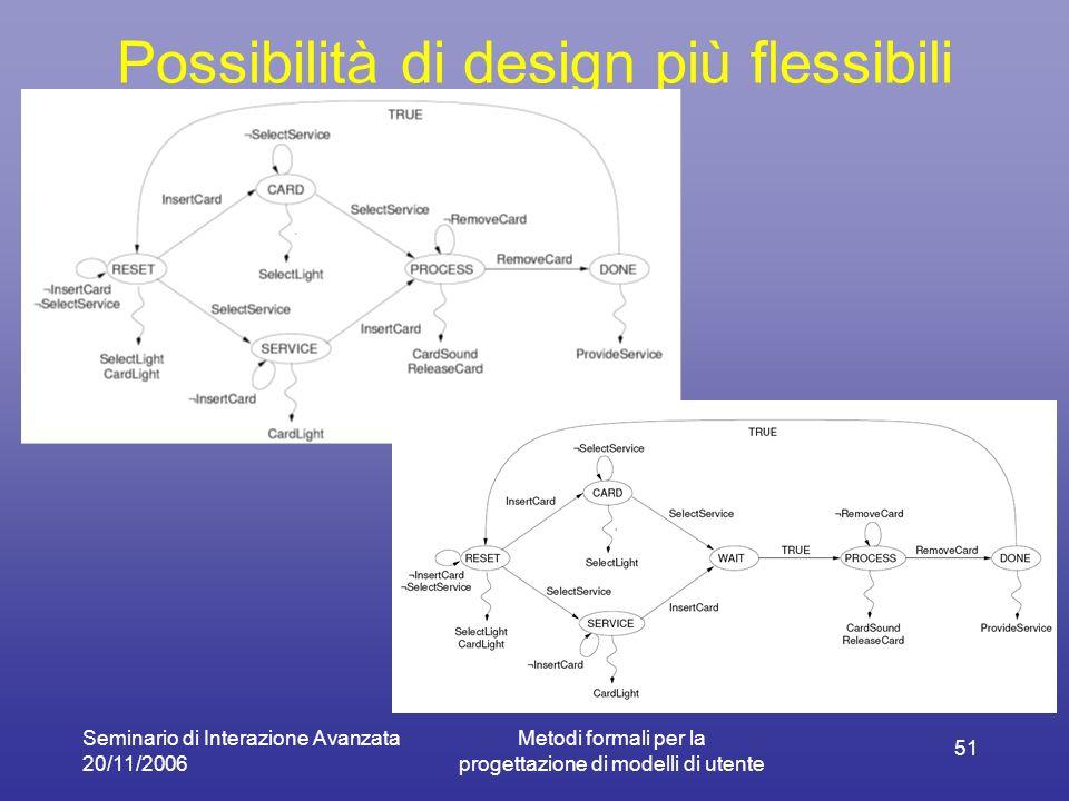 Seminario di Interazione Avanzata 20/11/2006 Metodi formali per la progettazione di modelli di utente 51 Possibilità di design più flessibili