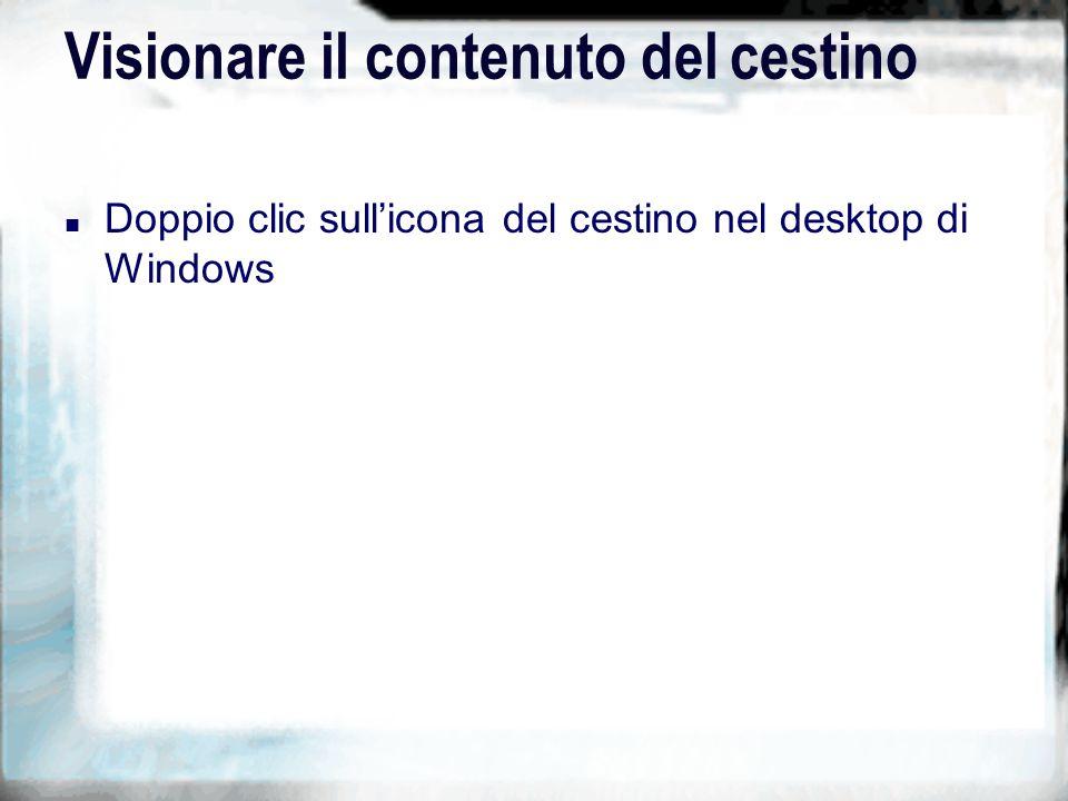 Visionare il contenuto del cestino n Doppio clic sullicona del cestino nel desktop di Windows