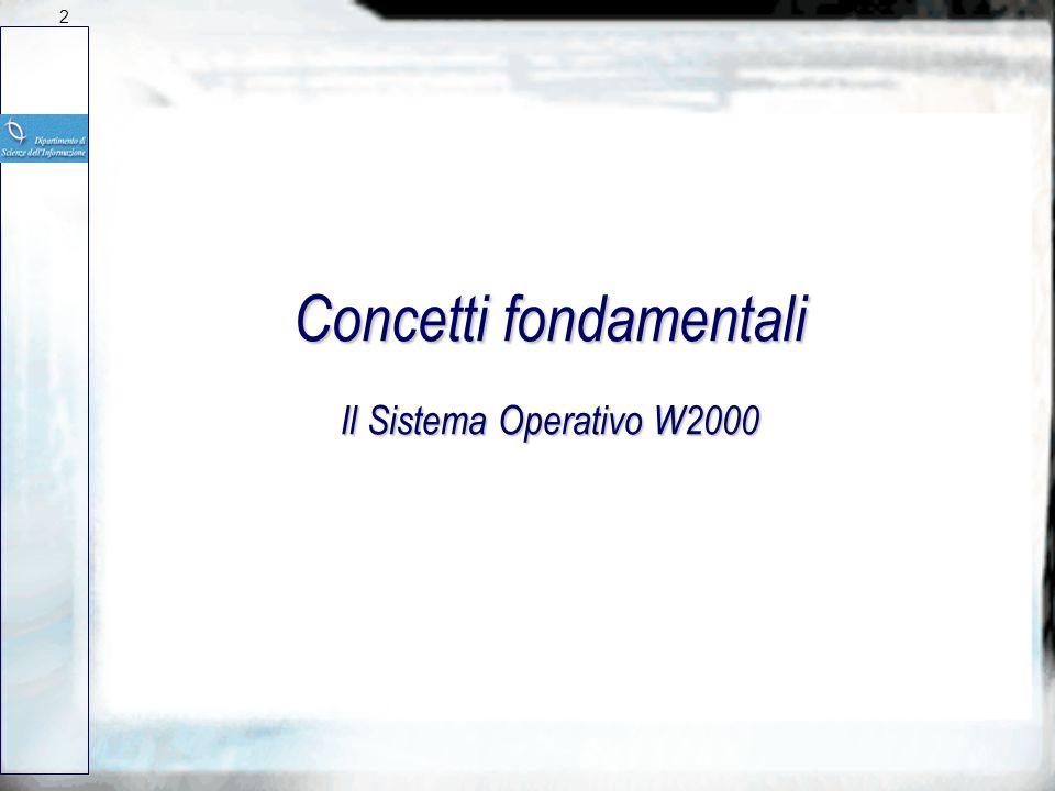 Concetti fondamentali Il Sistema Operativo W2000 2