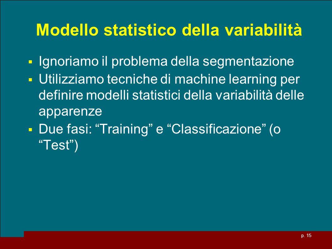 p. 15 Modello statistico della variabilità Ignoriamo il problema della segmentazione Utilizziamo tecniche di machine learning per definire modelli sta
