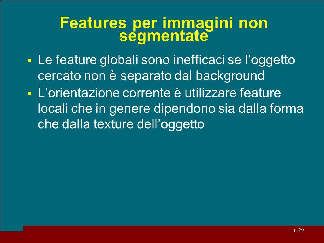 p. 20 Features per immagini non segmentate Le feature globali sono inefficaci se loggetto cercato non è separato dal background Lorientazione corrente