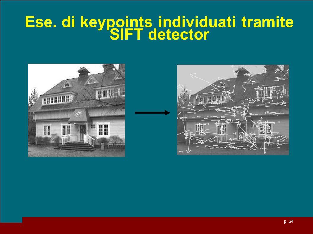 p. 24 Ese. di keypoints individuati tramite SIFT detector