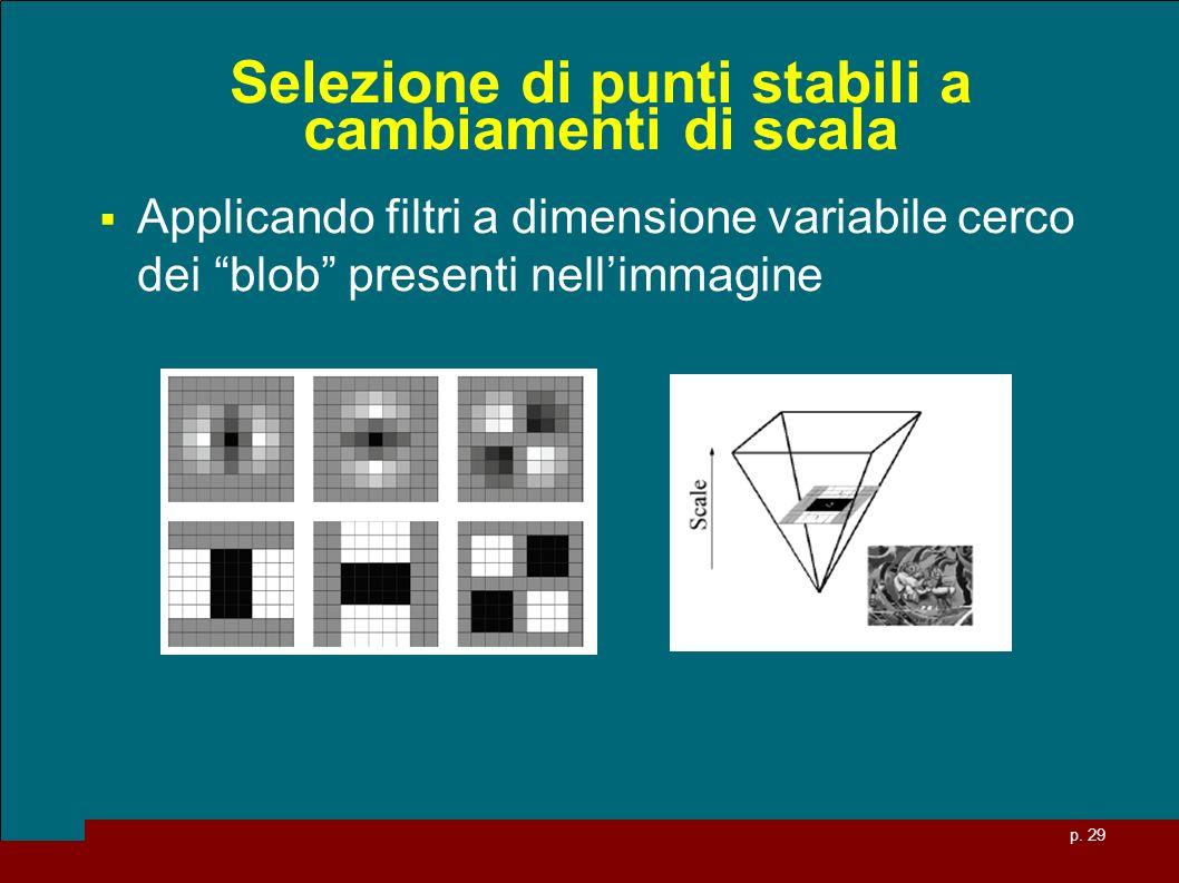 p. 29 Selezione di punti stabili a cambiamenti di scala Applicando filtri a dimensione variabile cerco dei blob presenti nellimmagine