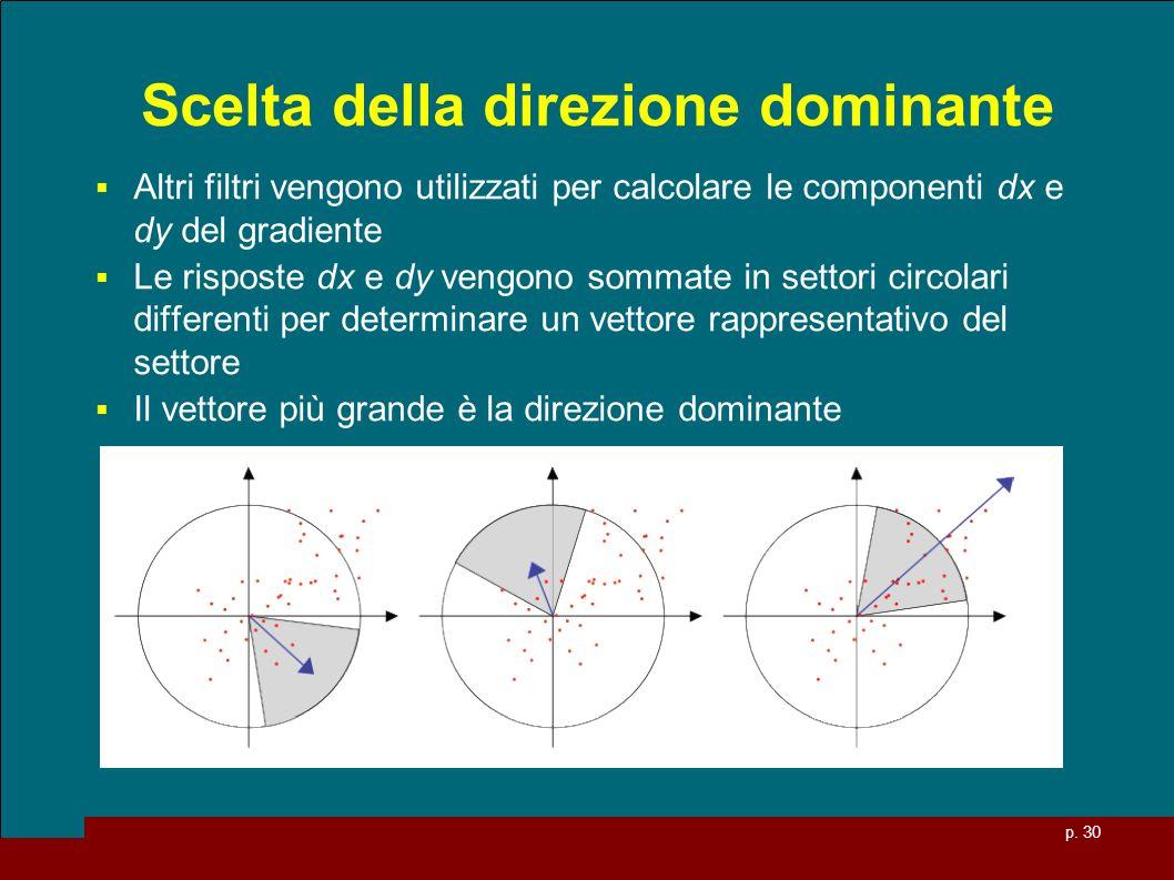 p. 30 Scelta della direzione dominante Altri filtri vengono utilizzati per calcolare le componenti dx e dy del gradiente Le risposte dx e dy vengono s