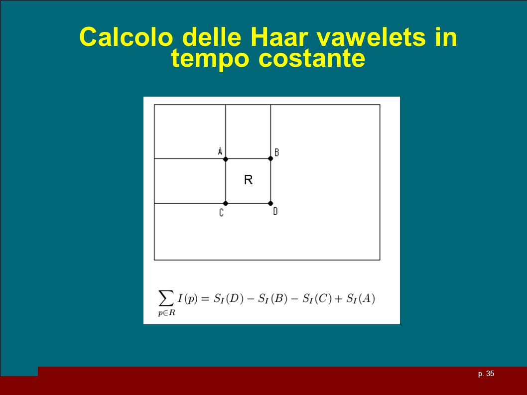 p. 35 Calcolo delle Haar vawelets in tempo costante
