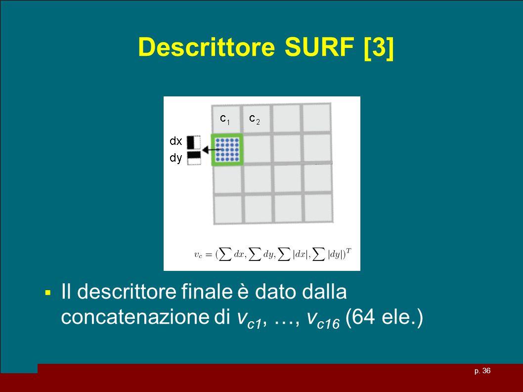 p. 36 Descrittore SURF [3] Il descrittore finale è dato dalla concatenazione di v c1, …, v c16 (64 ele.)
