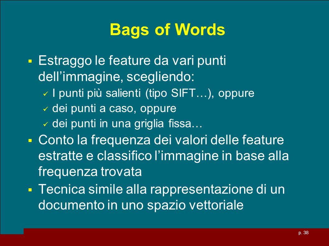 p. 38 Bags of Words Estraggo le feature da vari punti dellimmagine, scegliendo: I punti più salienti (tipo SIFT…), oppure dei punti a caso, oppure dei