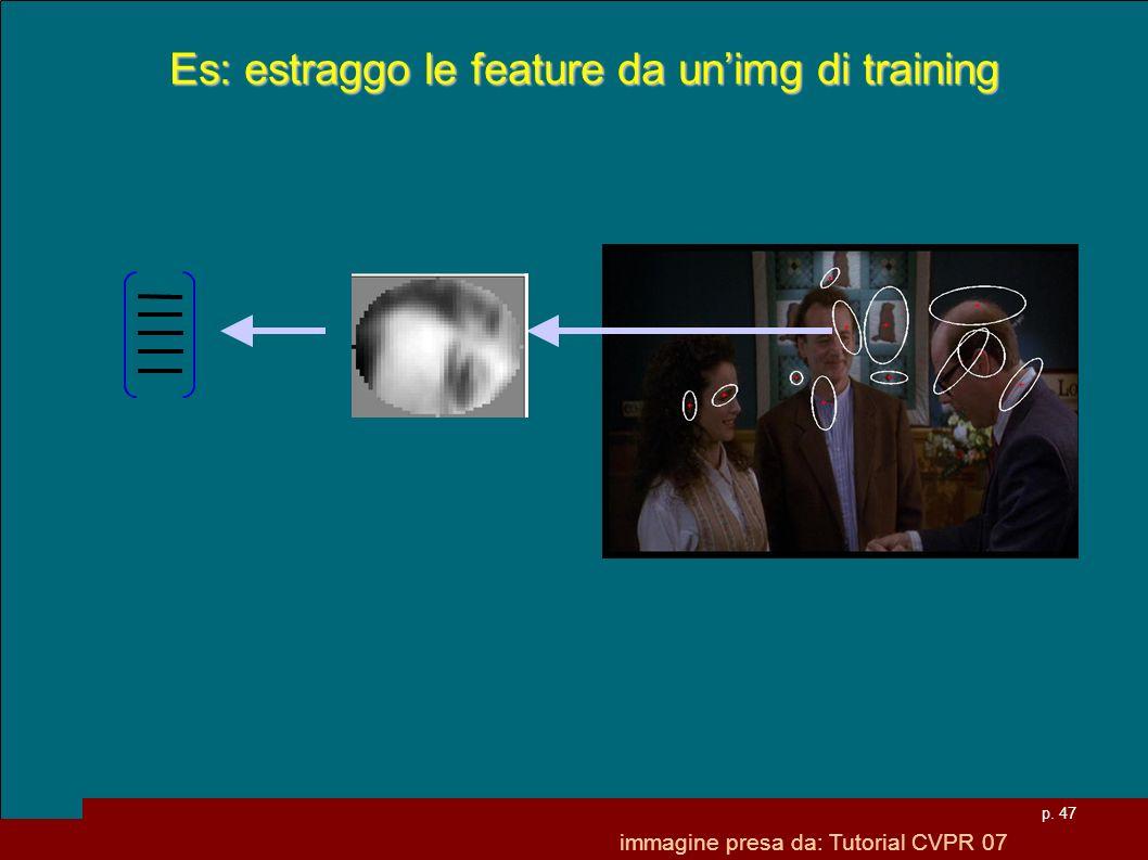 p. 47 Es: estraggo le feature da unimg di training immagine presa da: Tutorial CVPR 07