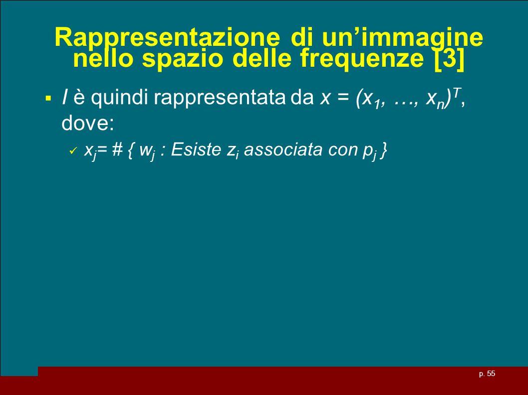 p. 55 Rappresentazione di unimmagine nello spazio delle frequenze [3] I è quindi rappresentata da x = (x 1, …, x n ) T, dove: x j = # { w j : Esiste z