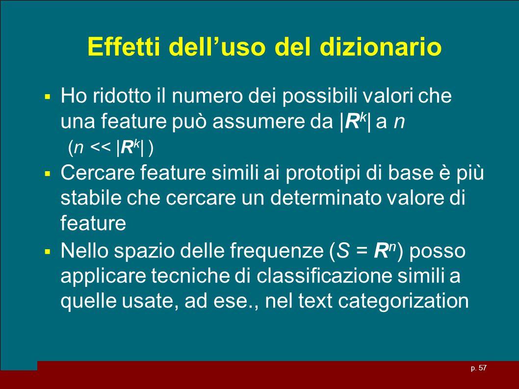 p. 57 Effetti delluso del dizionario Ho ridotto il numero dei possibili valori che una feature può assumere da |R k | a n (n << |R k | ) Cercare featu
